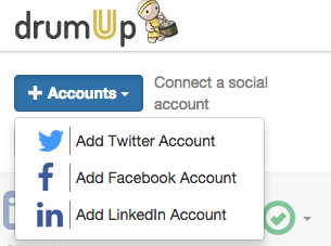 Adding accounts on DrumUp