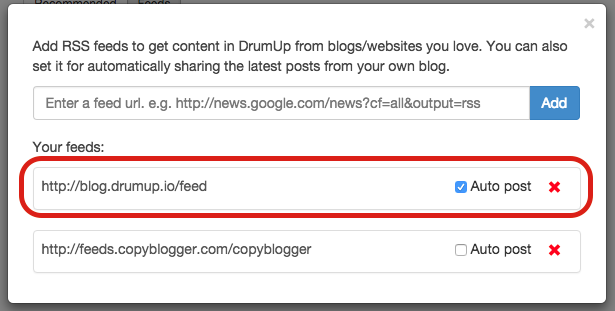 Connecting blog feed to post to social accounts on DrumUp
