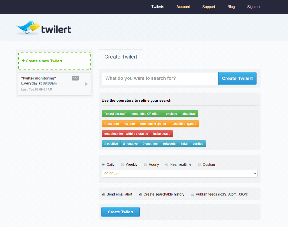 Twilert for twitter marketing