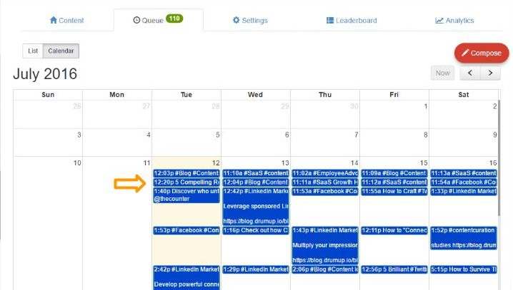 Click on a post on content calendar