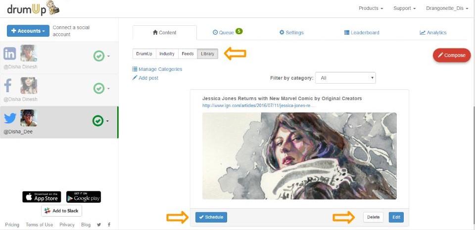 Edit delete posts