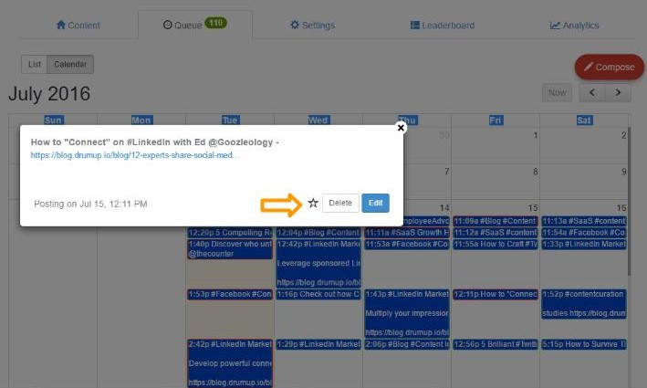 EditDelet on content Calendar