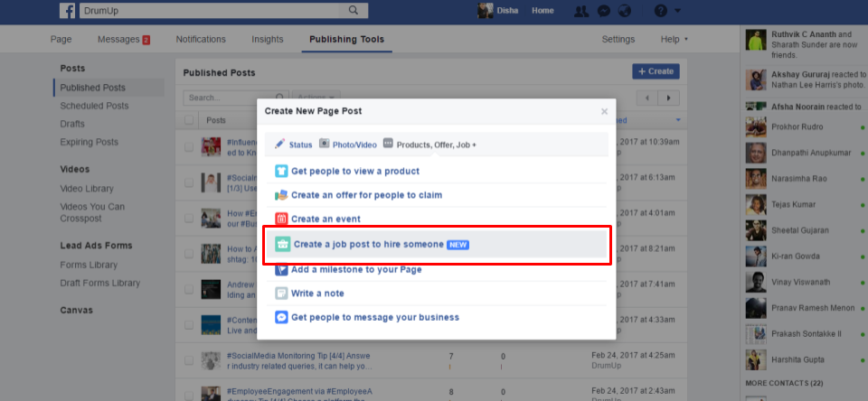 How to use Facebook's new job post