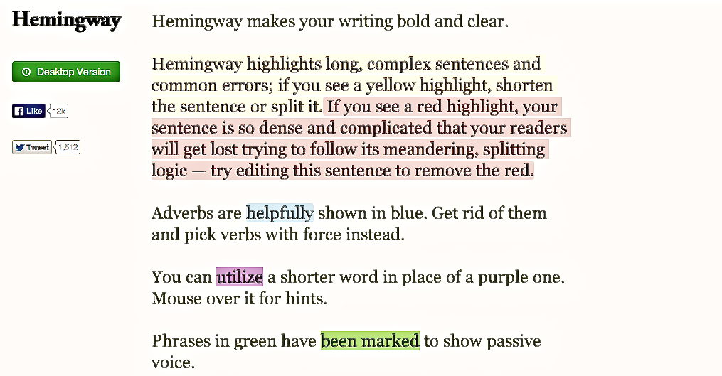 Hemingway for copy editing