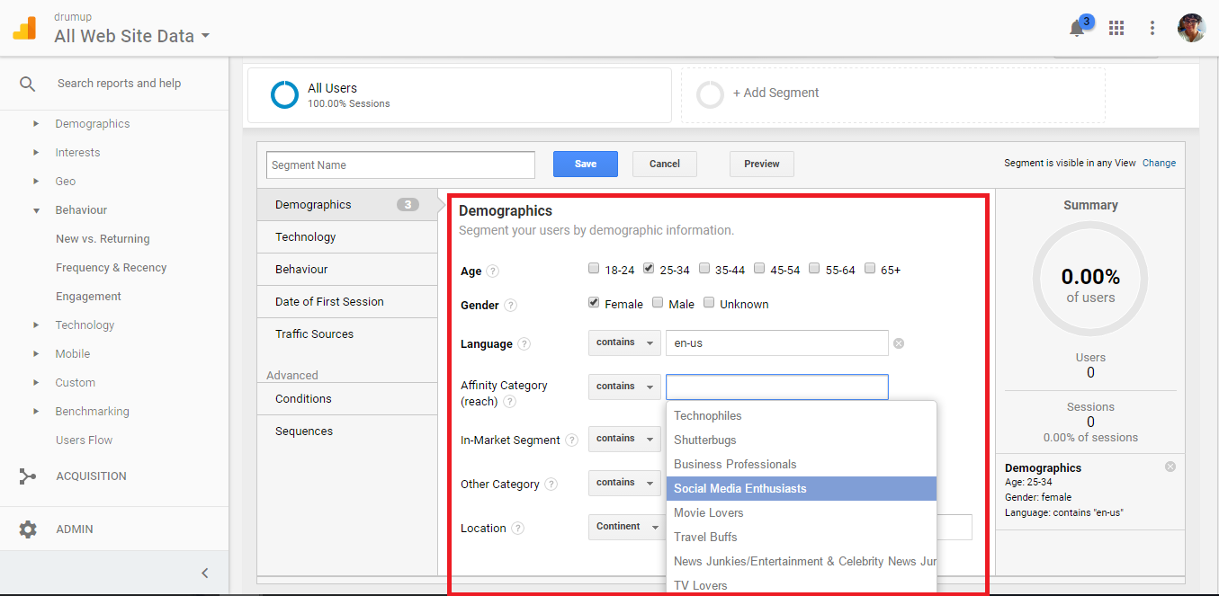 audience segmenting in google analytics