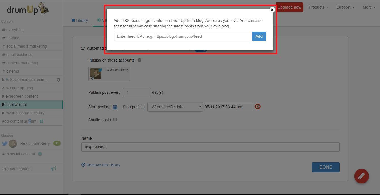 Insert feed URL
